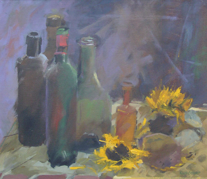Bottles and sunflowers